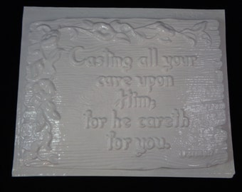 Plaster Mold Casting All Your Cares Upon Him Plaque 9x7 Scripture Verse
