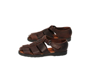 size 7 1/2 BUCKLE brown leather 80s 90s FISHERMAN woven STRAPPY sandals