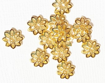 50 pcs of gold plated  flower beadcap 8x8mm, gold alloy bead caps