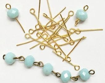 Bulk 550 Gold plated Steel eye pins 20mm long  21 gauge