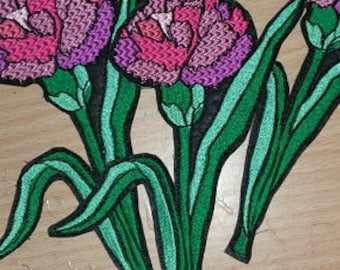 Gorgeous Carnation Flower  Embroidered  Iron/Glue/Sew On Patch