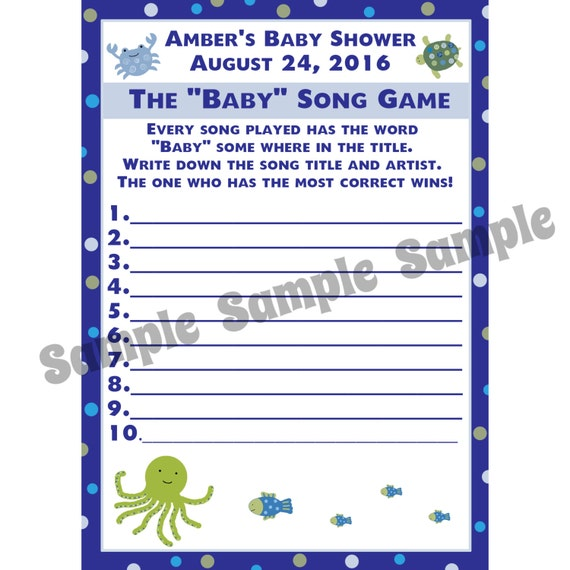 baby shower baby song game cards under the sea baby shower