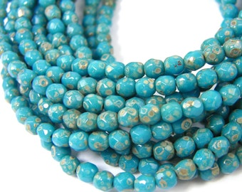 4mm Maya Blue Faceted Round Glass Beads Turquoise Teal Picasso Czech Glass Beads |B9-7|1x50