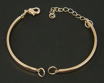 2 Pcs Rose Gold Bangle Bracelet Finding with Extender Chain Bracelet Component Jewelry Supply for DIY Bracelet Base |CO4-4|2