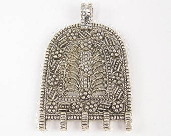 Antique Silver Tribal Pendant Necklace Finding Ornate Ethnic Granulated Jewelry Component with Loops for Adding Beads |S4-5|1