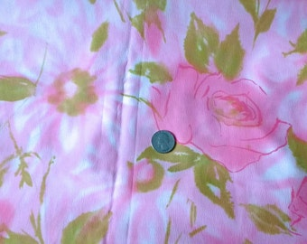 Vintage Pastel Pink Roses & Flowers Novelty Print Fabric 2+ Yds. // Poly crepe
