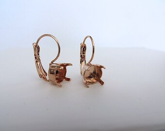 3 Pair Rose Gold Plated Lever Back Earrings for Swarovski 39ss 8mm Chatons