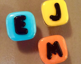 Custom Monogram Letter Cabinet Pull in Fused Glass, w/Hardware, Alphabet Knob, FREE Shipping to US