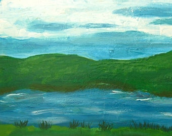 Primitive Landscape, Lake Painting, Acrylic Landscape, Lake Picture, Nature Art, Camping Memento, Primitive Painting