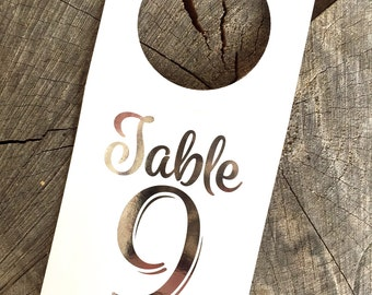 Silver Foil Bottle Tag Table Numbers Wine Bottles - Metallic Silver Table Number Wine Labels - Silver Seat Assignment Toppers -SPM001