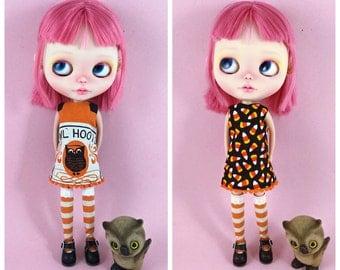 Reversible Halloween Dress for Blythe , 2 Dresses in 1