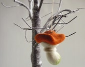 Red toadstool  needle felted tree ornament by Gretel Parker with gift box