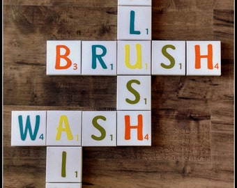 "Bathroom Tiles - ""Flush Brush Wash Aim"" Crossword Wall Sign or other words"