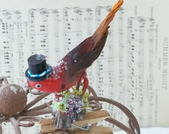 One of a Kind Sweet Little Vintage Altered Art Orange Red Woodland Finch Bird with a Top Hat Glitter and Moss Fairy Ornament Clip