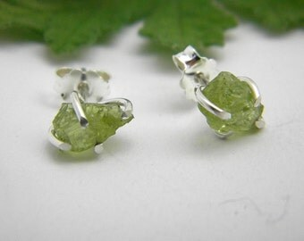 Raw Peridot Stones with Sterling Silver Earrings