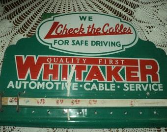 Vintage Whitaker Tin Sign--Automotive--Cable--Service