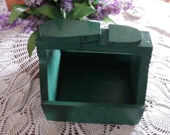 Vintage Green Chippy Paint Wooden Portable Shoe Shine Kit--Primitive
