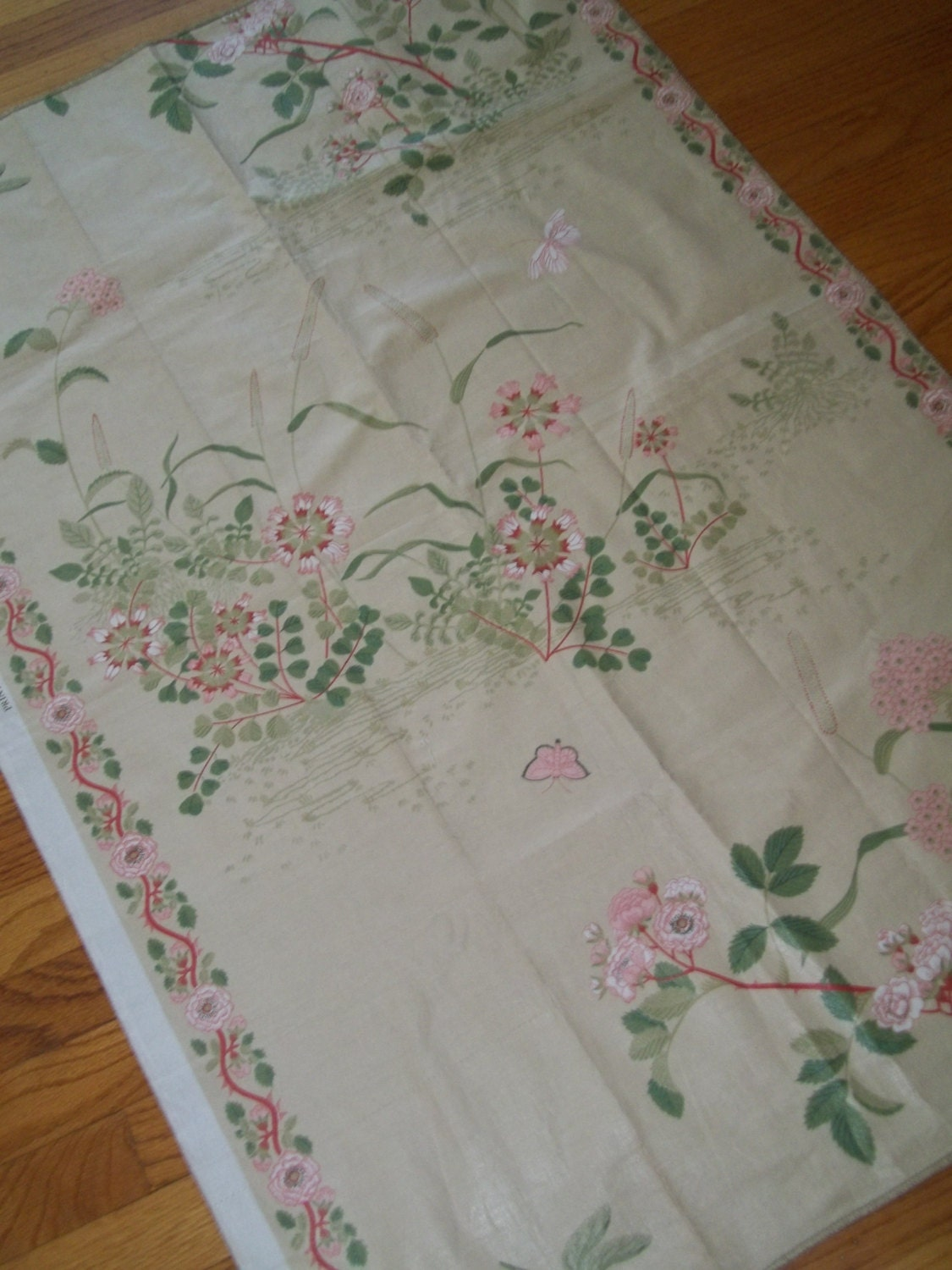 Vintage polished cotton fabric chintz fabric made in for Chintz fabric