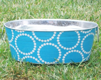 SALE Aqua and White Dotted Circles Short Medium Oval Tub - Crafted Ready for Shipping