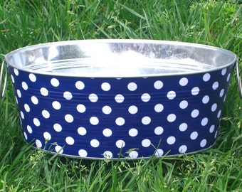 Anchor Blue and White Polka Dot Medium Short Oval Tub