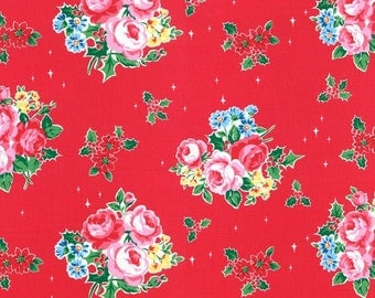 Red Christmas Floral Holly Berry 31327 30 Fabric by Lecien Flower Sugar Holiday