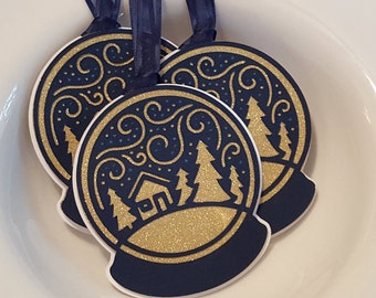 Navy and Gold Glitter Snowglobe Gift Tag Set
