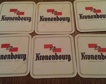 Set of 6 Vintage Kronenbourg Beer Advertising Coasters