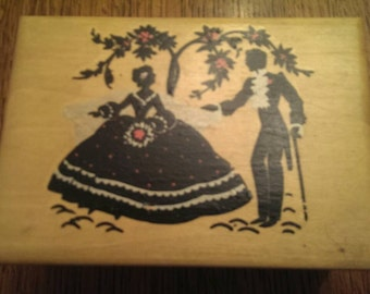 Sweet Vintage Silhouette Wooden Box for Jewelry or Storage