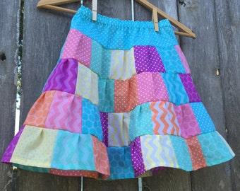 Rainbow Sherbet Patchwork Ruffled Tiered Girls Skirt