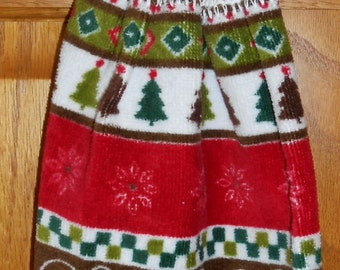 Kitchen towel with crochet top