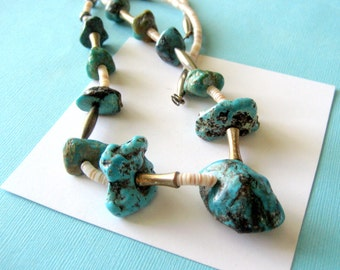 Vintage Santo Domingo Turquoise and Sterling Heishi Necklace