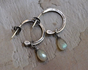 ON HOLD: Rustic Sterling Silver Half Hoop Earrings - Labradorite Drop Earrings - Oxidized Silver Hoop Stud Earrings - Hammered Hoop Earrings