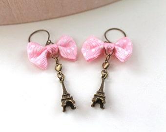 Paris dangling  earrings pink Eiffel Tower pink bow sweet kawaii lolita
