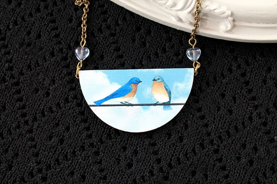 Blue birds wooden necklace half circle bib kawaii sweet lolita