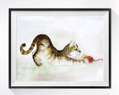 Kitty Art Original - Original watercolor painting Framed brown tabby cat wall hanging Kitty wall art Cat artwork Gift for her, 8.5 x 14 ORIG