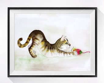 9. Kitty Art Original, Original watercolor painting Framed brown tabby cat wall hanging Kitty wall art Cat artwork Gift for her 8.5x14 ORIG
