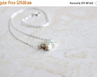 Clearance SALE Star Pearl Pendant Necklace Wire Wrapped Sterling Silver