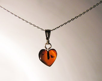 Baltic Amber Heart Necklace -Sterling Silver Chain - SMALL HEART