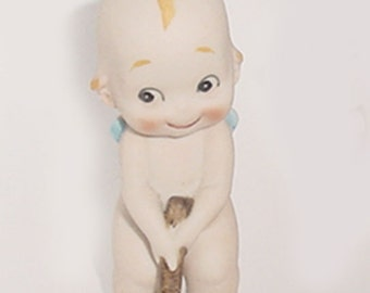Old Lefton Kewpie - Bisque  Figurine   Playing Golf - So Adorable-
