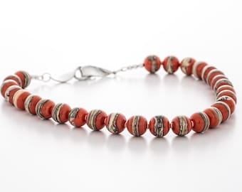 red necklace, glass and silver, artisan lampwork jewelry