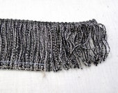 "Metallic Silver & Gray Chainette Fringe 3"" long Trim - Dance Costumes, Lamp Shades, Interior Decorating - Sewing Trim Supplies - By the Yard"
