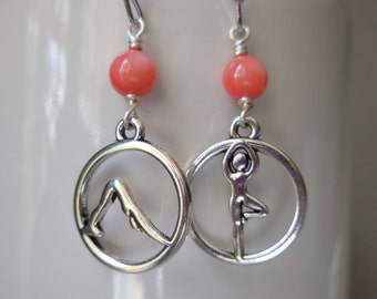 Yoga earrings with coral color shell pearls. Sun salutation yoga position dangle earrings. Yoga poses zen meditation jewelry. Silver plated.