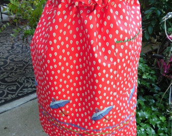 Vintage Red and White Half Apron with Floral Raindrops, Blue Umbrellas and Blue & Green Rick Rack Trim