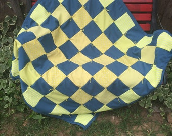 Vintage Hand Tied Patchwork Teal and Neon Yellow Polyester/Double Knit Lap Quilt/Baby Quilt