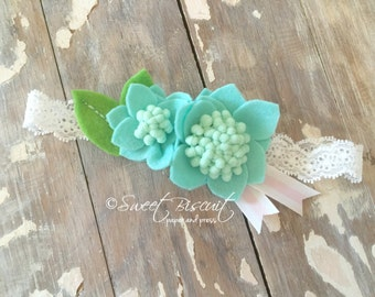 Blue Flower Lace Headband