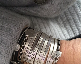 personalized ur silver handmade cuff bracelet with ur own message. Text . Song . Wedding Date. Birthday . Names. Words.  Love - SimaG