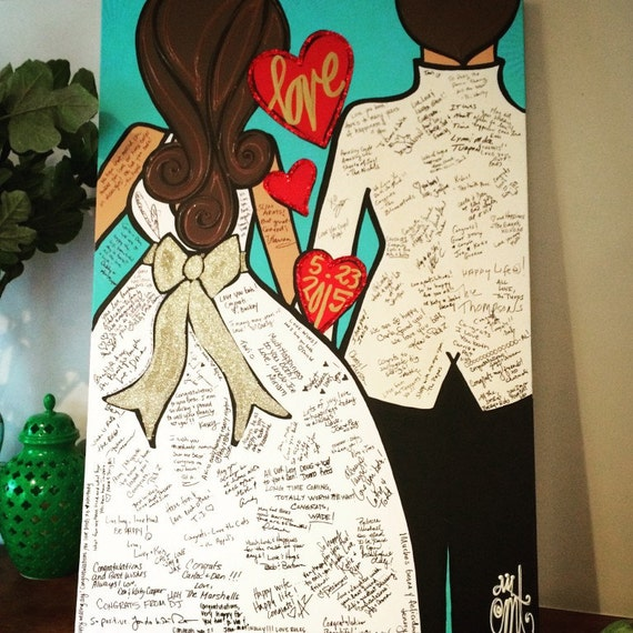 Wedding Guest Signing Ideas: Custom Bride And Groom Wedding Guest Book Painting