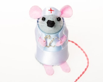 Nurse Mouse - get well soon collectable art rat artists mice felt cute soft sculpture toy stuffed plush doll ornament gift for nurse doctor
