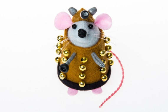 Doctor Who Dalek mouse ornament gift for husband wife boyfriend girlfriend brother sister men women felt rat hamster dr who fan collector
