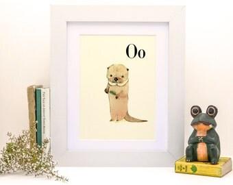 O for Otter - 4x6 - Alphabet art - Alphabet print - wall art - ABC print - Nursery art - Nursery decor - Kids room decor - Children's art